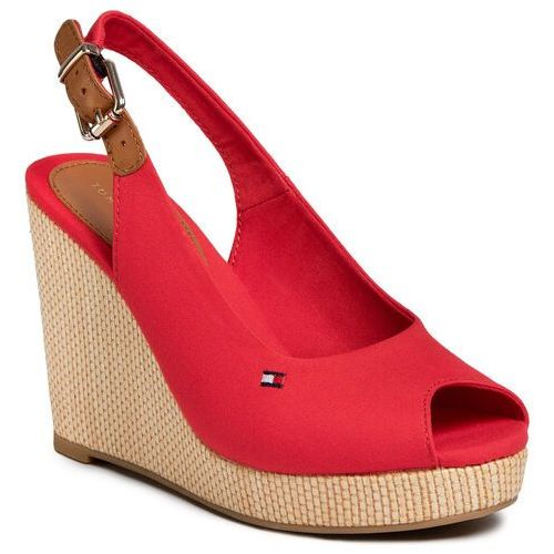 Espadryle - iconic elena sling back wedge fw0fw04789 primary red xlg, Tommy hilfiger, 36-41