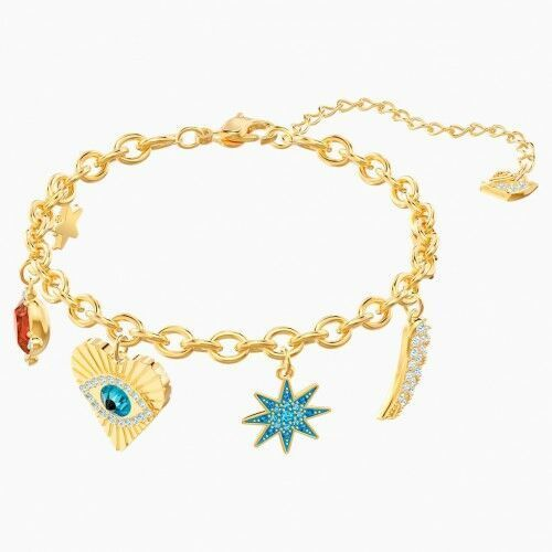 Lucky Goddess Charms Bracelet, Multi-colored, Gold-tone plated, 25853955953