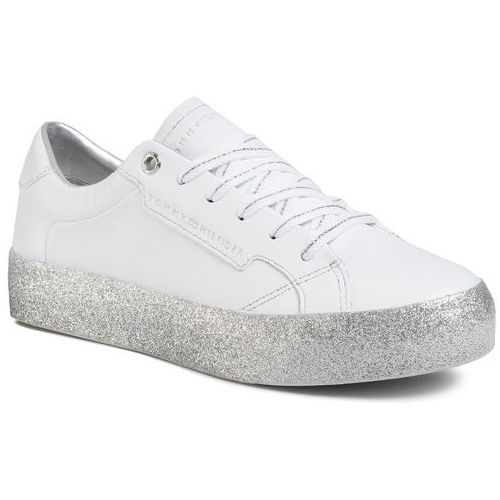 Sneakersy - glitter foxing dress sneaker fw0fw04849 white/silver 0k5, Tommy hilfiger, 36-42