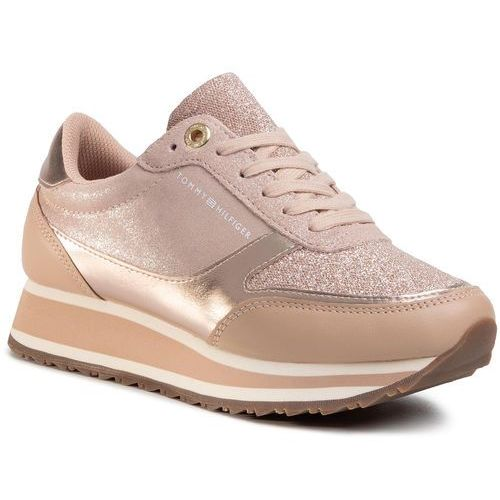 Tommy hilfiger Sneakersy - metallic retro runner fw0fw03337 mahogany rose 641