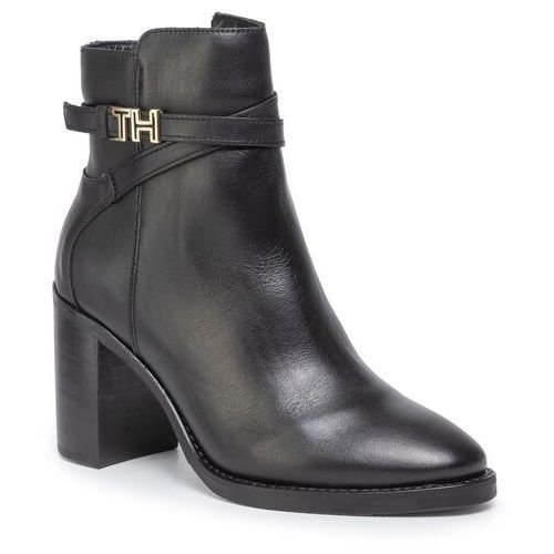 Botki TOMMY HILFIGER - Th Hardware Leather High Bootie FW0FW04284 Black 990, kolor czarny