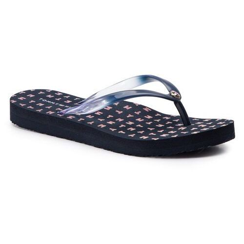 Tommy hilfiger Japonki - colorful tommy flat beach sandal fw0fw04240 midnight 403
