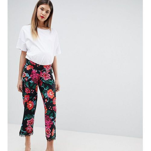 Asos design maternity low rise bump band pyjama trouser in jersey with lace hem in floral print - multi, Asos maternity