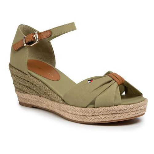 Espadryle TOMMY HILFIGER - Basic Opened Toe Mid Vedge FW0FW04785 Faded Olive L9F, kolor zielony