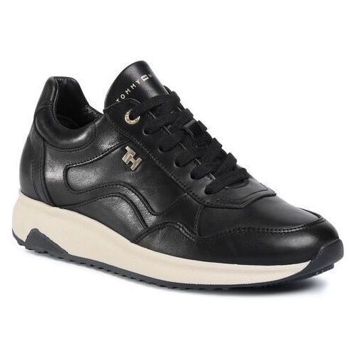 Sneakersy TOMMY HILFIGER - Elevated Th Leather Runner FW0FW05295 Black BDS, kolor czarny