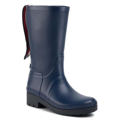 Kalosze TOMMY HILFIGER - Elevated Th Hardware Rainboot FW0FW04583 Sport Navy DB9, kolor niebieski