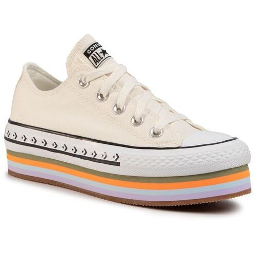 Trampki - ctas platform layer ox 567847c egret/total orange/gum, Converse, 36-41