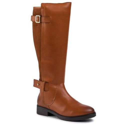Oficerki - modern suede longboot fw0fw04335 leather brown 201, Tommy hilfiger, 36-37