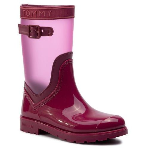 Kalosze TOMMY HILFIGER - Translucent Detail Rain Boot FW0FW04126 Beet Red 522, kolor fioletowy