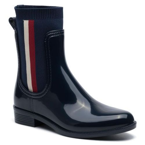 Kalosze TOMMY HILFIGER - Knitted Rain Boot FW0FW04125 Tommy Navy 406