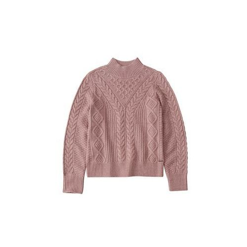 sweter 'cable mock neck & pattern' różowy pudrowy, Abercrombie & fitch, 34-42